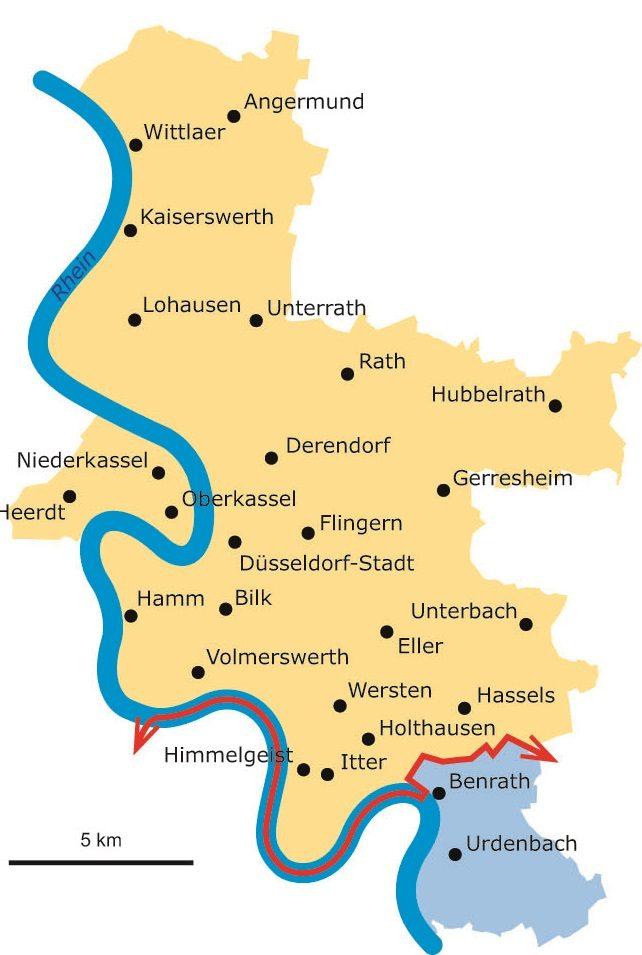 Diese Karte zeigt den Verlauf der Benrather Linie. Abbildung: Greven Verlag/LVR