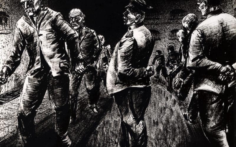 """Diese Zeichnung von Karl Schwesig trägt den Untertitel """"Spaziergang eine halbe Stunde täglich"""" und ist nach seiner ersten Inhaftierung in der Ulmer Höh' entstanden. Bild: ehem. Galerie Remmert und Barth, Düsseldorf"""