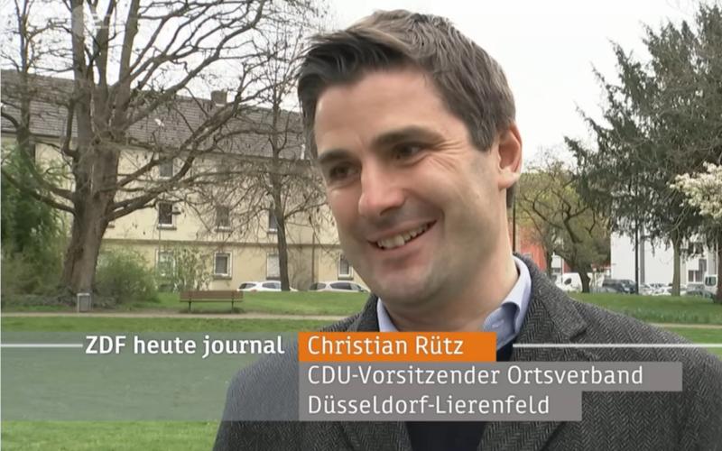 """Dieser Screenshot stammt aus dem ZDF """"Heute-Journal""""und zeigt den Lierenfelder Ortsverbandsvorsitzenden Christian Rütz."""