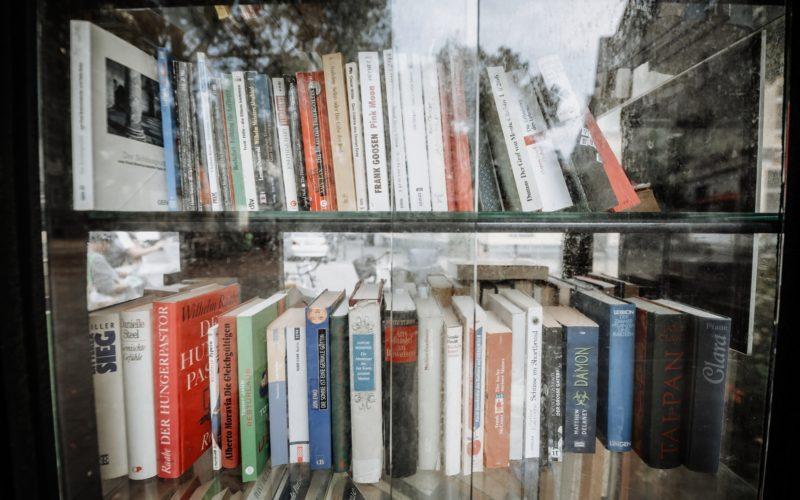 Eine Menge Titel, eine Menge mögliche Antworten: der Bücherschrank am Friedensplätzchen alias das Orakel von Unterbilk. Foto: Andreas Endermann