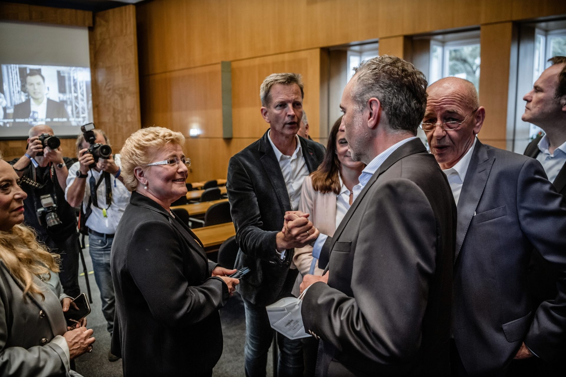 Spitzenvertreter der Düsseldorfer CDU am Wahlabend: Sylvia Pantel, Josef Hinkel, Thomas Jarzombek und Rolf Tups (von links). Foto: Andreas Endermann