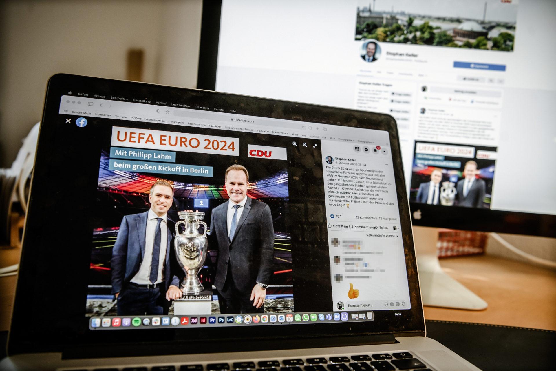 """Auf der Facebookseite """"stephankeller2020"""" ist dieses Foto des Oberbürgermeisters mit Weltmeister Philipp Lahm erschienen - und CDU-Logo. Das ist umstritten. Foto: Andreas Endermann"""