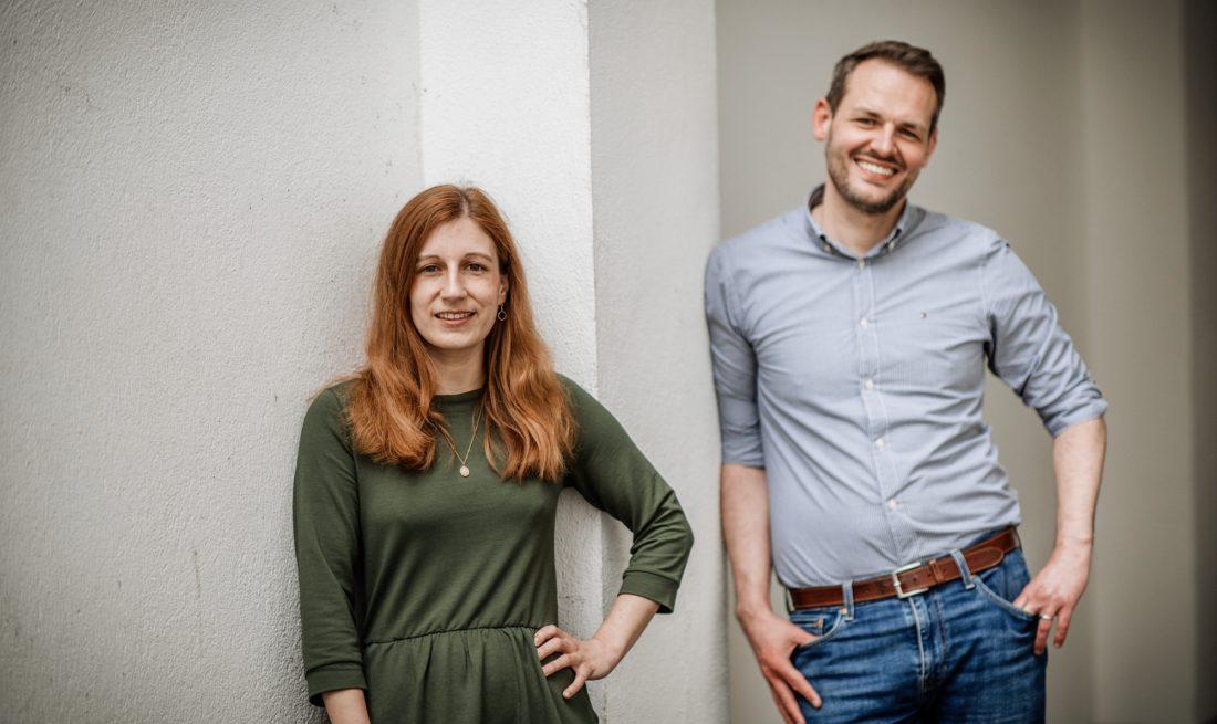 Die neue Doppelspitze der Düsseldorfer SPD: Annika Maus und Oliver Schreiber. Foto: Andreas Endermann